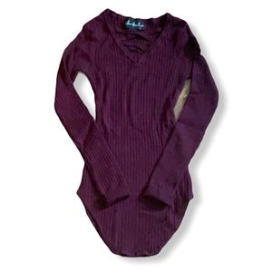 Plum fitted ribbed sweater size XS